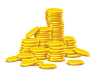 Gold coins cash money in hill rouleau Royalty Free Stock Photos