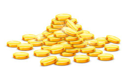 Gold coins cash money in hill. Gold coins cash money in rouleau. Vector illustration. On white background. Transparent objects used for lights and shadows Stock Image