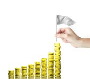 Gold coins chart. And hand with flag Royalty Free Stock Photos