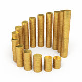 Gold coins circle stacking. 3d render Gold coins circle stacking (isolated on white and clipping path Stock Photo
