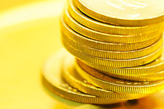 Gold coins close up Stock Image