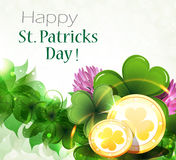 Gold coins with clover Stock Images