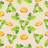 Gold coins and clover leaves. Festive day. St. Patrick`s Day. Seamless pattern. Background for web sites, presentations, posters Royalty Free Stock Photo