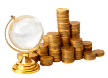 Gold coins and crystal globe Royalty Free Stock Photo