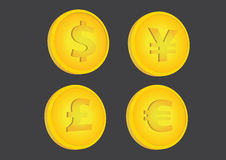 Gold Coins with Currency Symbols Vector Illustration Royalty Free Stock Image