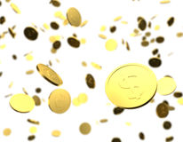 Gold coins 3D raining Royalty Free Stock Images