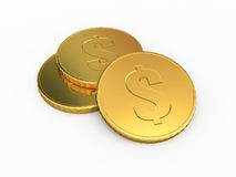Gold coins. 3d render Gold coins ( on white and clipping path Royalty Free Stock Image