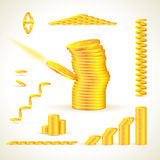 Gold coins in different compositions set.  Stock Photo