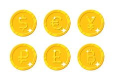Gold coins different currency Royalty Free Stock Photo