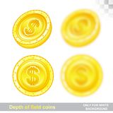 Gold coins in different position with sharp and depth of field effect. On white Royalty Free Stock Images