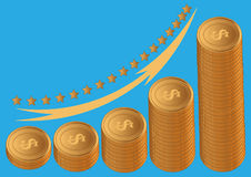 Gold coins dollar Royalty Free Stock Images
