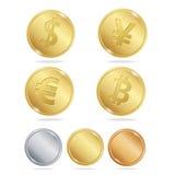 Gold Coins Dollar Euro Bitcoin Yuan Set. Vector Stock Images