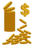 Gold Coins Dollar Royalty Free Stock Photos