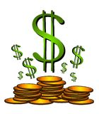 Gold Coins Dollar Sign Clipart. An illustration of gold money coins and dollar signs representing finance, banking, wealth, and security Stock Photo