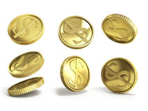 Gold coins with dollar sign 3d illustration on a white backgroun Stock Image