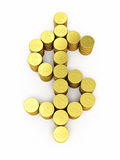 Gold coins dollar sign. 3d render Gold coins dollar sign (isolated on white and clipping path Stock Photo
