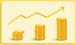 Gold Coins Earnings Growth, Career Growth Business Vector royalty free stock photography
