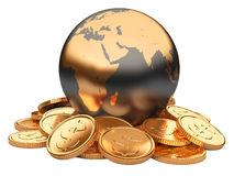 Gold coins and Earth isolated on white background. Business concept Stock Images