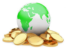 Gold coins and Earth  on white background Royalty Free Stock Photography