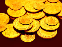 Gold coins embossed with images. Many gold coins embossed with images strewn around Stock Photo