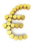 Gold coins euro sign. 3d render Gold coins euro sign ( on white and clipping path Royalty Free Stock Image