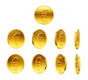 Gold Coins with Euro Sign Royalty Free Stock Photos