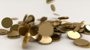 Gold coins fall Stock Photo
