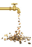 Gold coins fall out of the golden tap. Royalty Free Stock Image