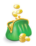Gold coins fall into a purse Stock Images