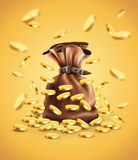Gold coins falling down and full sack stock illustration
