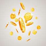 Gold coins falling down. Isolated on white background. illustration Stock Photos