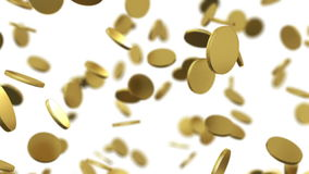 Gold coins falling on white. Beautiful Looped animation with DOF. stock video