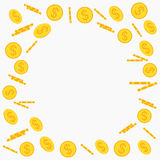 Gold coins flying stock illustration