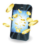 Gold coins flying out of smart mobile phone. Conceptual illustration. Money in form of gold coins flying out of new style smart mobile phone Stock Photography
