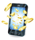 Gold coins flying out of smart mobile phone. Conceptual illustration. Money in form of gold coins flying out of new style smart mobile phone Royalty Free Stock Image