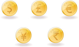 Gold coins with foreign currency Stock Photography