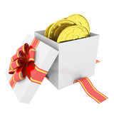 Gold coins in a gift box Royalty Free Stock Photo