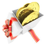 Gold coins in a gift box Stock Photo