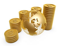 Gold coins and globe. Dollar symbol gold coins pile and globe on white background Stock Image