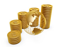 Gold coins and globe. Dollar symbol gold coins pile and globe on white background Stock Photo