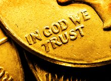 Gold Coins In God We Trust Stock Photography