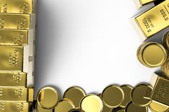 Gold coins and gold bars. With blank space Stock Photo
