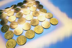 Gold Coins. On Blue Background royalty free stock photography