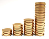 Gold coins graph Royalty Free Stock Images