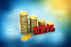 Gold coins graph  with calculator Royalty Free Stock Image