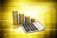Gold coins graph  with calculator Stock Photo