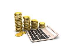 Gold coins graph  with calculator. In white background Royalty Free Stock Photo