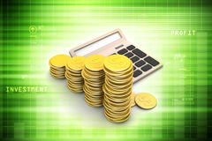 Gold coins graph  with calculator Royalty Free Stock Images