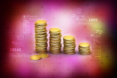 Gold coins graph Royalty Free Stock Image