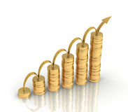 Gold coins graph concept 3d illustration Stock Image